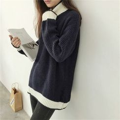 Anlay - Loose-Fit Color-Block Turtleneck Batwing-Sleeve Sweater