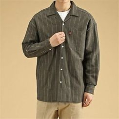 THE COVER - Pocket-Front Pinstriped Cotton Shirt