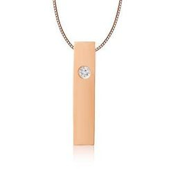 MBLife.com - Left Right Accessory - 9K/375 Rose Gold Polish Finish Rectangular Cube Diamond Necklace 16' (0.006 ct)