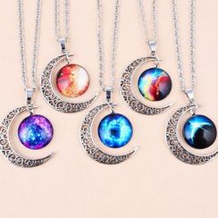 Feather World - Moon Pendant Necklace