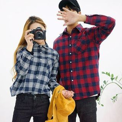 Seoul Homme - Couple Pocket-Front Check Shirt