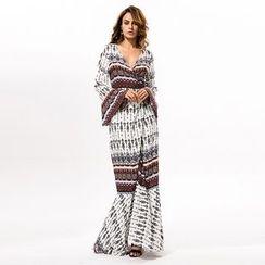 Hotprint - Patterned V-Neck Slit Maxi Dress