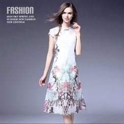 Ozipan - Short-Sleeve Printed Cheongsam Dress