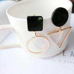 Gold Beam - Geometric Non-Matching Earrings