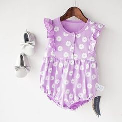 MOM Kiss - Baby Floral Print Frill Trim Bodysuit