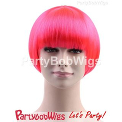 Party Wigs - PartyBobWigs - Party Short Bob Wig - Neon Pink