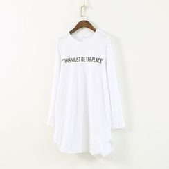 Ranche - Lettering Long Sleeve T-Shirt Dress