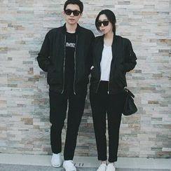 Evolu Fashion - Couple Matching Plain Zip Jacket