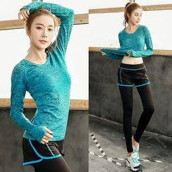 PUDDIN - Sports Set: Long-Sleeve Top + Piped Inset Leggings
