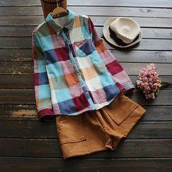 YOYO - Long-Sleeve Fleece-Lined Check Shirt