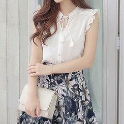 Fashion Street - Set: Tasseled Frilled Top + Printed Skirt