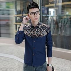 SICRIT - Patterned Panel Long-Sleeve Shirt