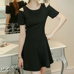 Q.C.T - Cutout Shoulder A-Line Dress