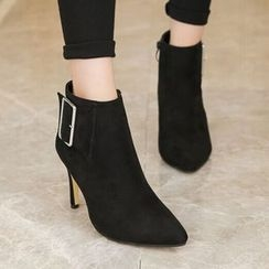 Monde - Buckle Detail Heeled Pointy Short Boots
