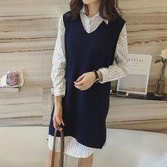 Little V - Set: Pinstriped Shirtdress + V-Neck Long Knit Vest