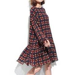 Myrtle - Plaid Long Sleeve Chiffon Dress