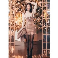 Chlo.D.Manon - Lace-Up Front Plaid Mini Suspender Dress