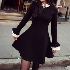 Athena - Long-Sleeve Contrast-Collar Ruffled Dress
