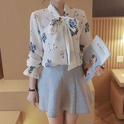 Lavogo - Floral Print Tie-Neck Chiffon Blouse