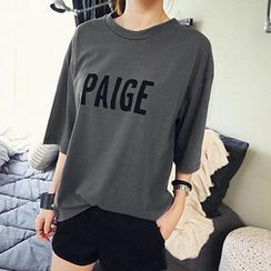 NANING9 - Elbow-Sleeve Lettering Print T-Shirt