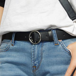 Charm n Style - Round Buckle Faux Leather Belt