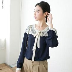 CatWorld - Tie-Neck Lace Panel Chiffon Blouse