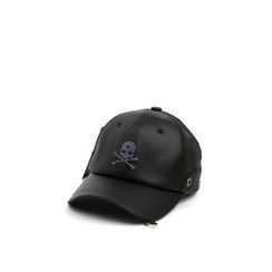 Ohkkage - Faux-Leather Logo-Front Baseball Cap
