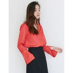 FROMBEGINNING - Notched-Collar Wide-Cuff Satin Blouse