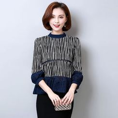 Sienne - Eyelet Panel Striped Blouse
