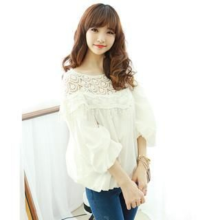 Dodostyle - Crochet Neck 3/4-Sleeve Bubble Hem Blouse