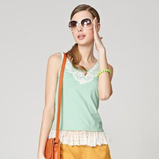 O.SA - Lace-Hem Sleeveless Top