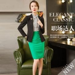 Aision - Jacket / Dotted Shirt / Pencil Skirt
