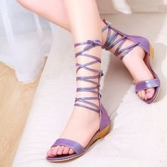 YOUIN - Cross-Strap Wedge Sandals
