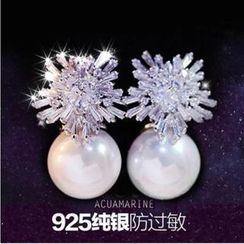 Nanazi Jewelry - Faux-pearl 925 Silver Earrings