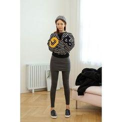 migunstyle - Appliqué Striped Pullover