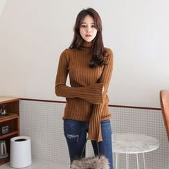 PPGIRL - Turtle-Neck Ribbed Knit Top