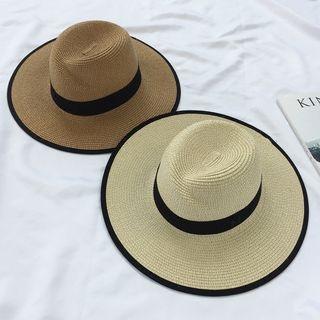 Pompabee - Contrast Trim Straw Hat
