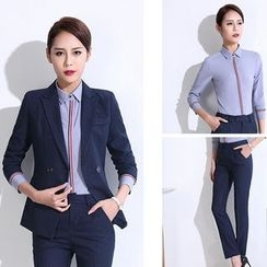 Princess Min - Set: Blazer + Striped Trim Shirt + Pants / Skirt