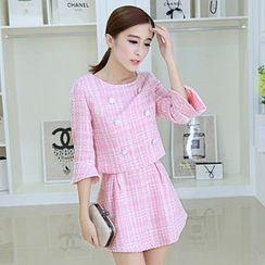 Hazie - Set: 3/4-Sleeve Tweed Top + A-Line Skirt