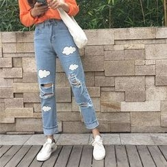 MePanda - Ripped Straight Fit Jeans