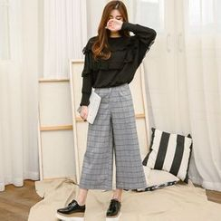 SUYISODA - Cropped Plaid Wide Leg Pants