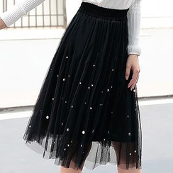 Fashion Street - Faux Pearl Midi Mesh Skirt