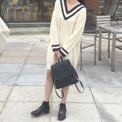 Anlay - Loose-Fit V-Neck Batwing Sleeve Knit Dress
