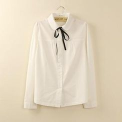 Tangi - Ribbon-collar Long Sleeved Blouse