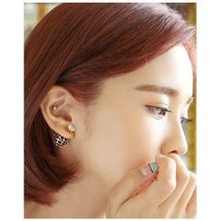 Miss21 Korea - Openwork Dual Stud Earrings