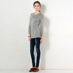 YesStyle Z - Round-Neck Slit-Back Long T-Shirt