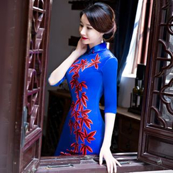 Janelle Qipao - Elbow-Sleeved Leaf-Print Long Qipao