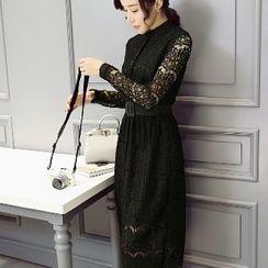 Romantica - Long-Sleeve Belted Plain Lace Dress