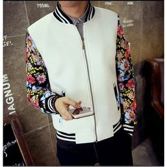 Consto - Floral Print Panel Baseball Jacket