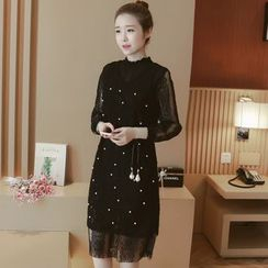 Munai - Long-Sleeve Lace Beaded Dress